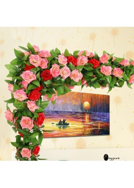 Floral Decor Vine Fake Flower Vine Loft Fake Rose Vine Flowers Plants Artificial Flower Hanging Rose