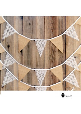 Burlap Pennant Banner With Lace Decoration he Whole Length Is 3 Meters 18.5*20CM Piece