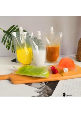 100pcs Disposable Beverage Transparent Bag Transparent 200ML Blank