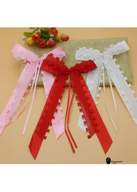 30PCS Peach Heart Yarn Love Ribbon Bow Party Decoration 13*22CM