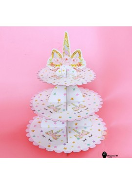 2PCS Paper Cake Stand Three-Tier Dessert Table High 35CM, Large Disc Diameter: 30C M