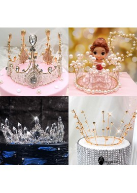Cake Decoration Lace Crystal Pearl Crown Decoration