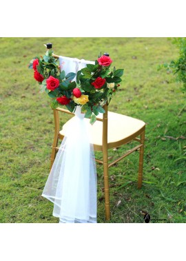 Chair Back Flower Wedding Decoration Flower Rose Simulation 55*55*22CM