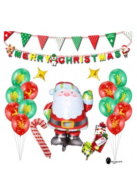 Santa Balloon Set Holiday Decoration Party Decoration Supplies 12 Balloons a Santa Claus Two Banners