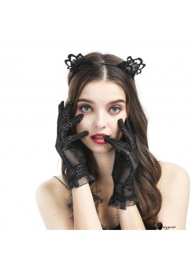 Lace Sexy Black Short Gloves Lace Dress Gloves Courtesy Summer Gloves for Wedding Parties