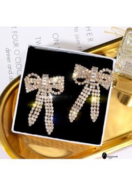 Butterfly Diamond Long Earrings Bow Shape