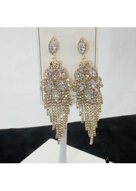 Crystal Tassel Earrings Cubic Zircon Drop Earrings 12.6*3CM