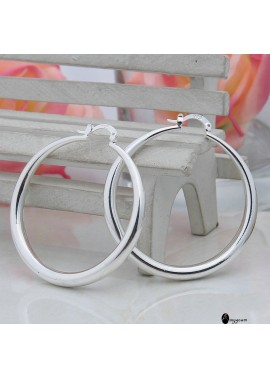U-shaped Large Ring Earrings Glossy Circle Party Accessories Diameter 4CM