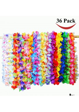 36 Counts Tropical Hawaiian Luau Flower Lei Party Favors Flower Belt