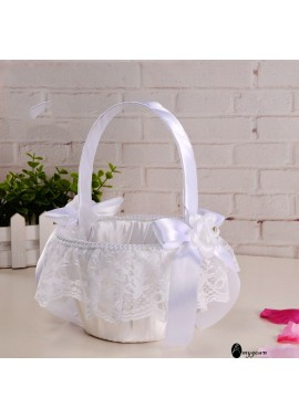 2PCS Wedding Lace Bow Bridal Flower Girl Flower Basket 22CM*15CM
