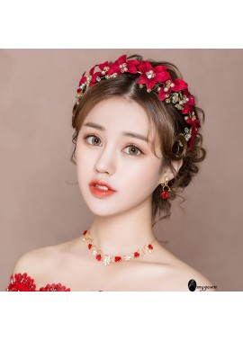 Bridal Headdress Red Toast Clothing Hair Accessories Three-piece suit