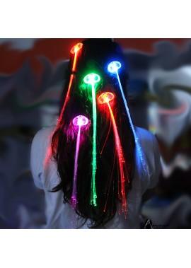 10PCS Luminous Braid Led Flash Fiber Total Length 35CM, Hair Ruler Length 33CM