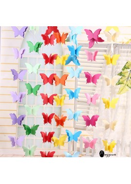 10PCS Colorful Butterfly Paper Lacquered Paper String Window Decoration Total Length 2.7 Meters