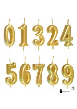 10PCS Digital Candle Golden Numbers Silver Pink
