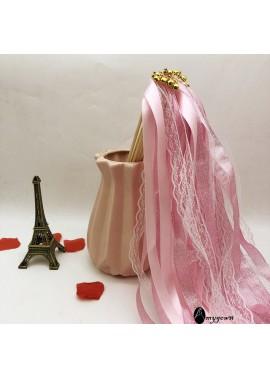 10PCS Ribbon Fairy Fairy Magic Wand Ribbon Pull Flower Decoration Wooden Rod Length 30CM Diameter 4MM Ribbon 60CM
