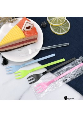 200 Disposable Fork Plastic Long Handle Three-tooth Fork Independent Packaging