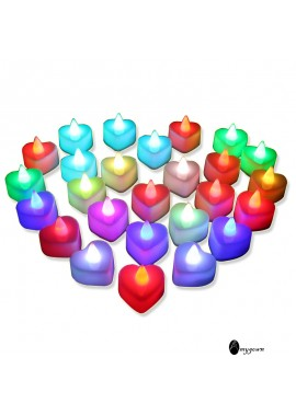24PCS Heart Shaped Electronic Led Candle Light 48xx32x49CM