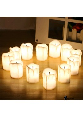 12PCS LED Electronic Black Core Simulation Tearing Candle 3.7x5.1CM