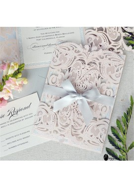 10pcs Blessing Greeting Card Warm Light Pink Wedding Invitation