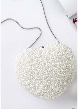 Handmade Heart-Shaped Pearl Bag Cute Handbags T901556075514
