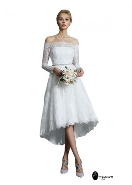 AmyGown 2021 Long Sleeves Short Lace Wedding Dress T801524714740