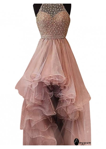 AmyGown High Low Long Prom Evening Dress T801524703853