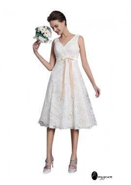 AmyGown 2021 Beach Short Lace Wedding Dresses T801524714719
