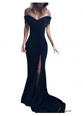 Black V Neck Long Formal Evening Dresses Online For Women T801524703580