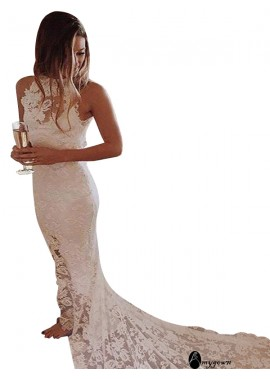 AmyGown 2021 Beach Lace Wedding Dresses T801524714809