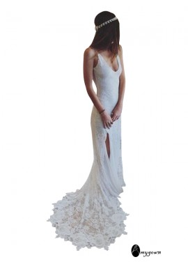 AmyGown 2021 Beach Lace Wedding Dresses T801524714944