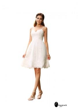 AmyGown 2020 Beach Short Lace Wedding Dresses T801524714975