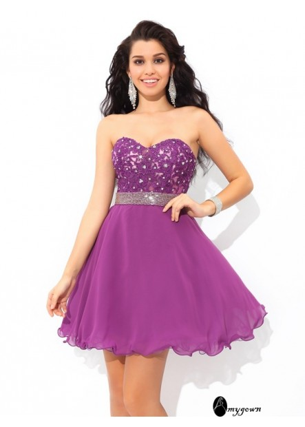 AmyGown Short Homecoming Prom Evening Dress T801524711167