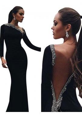 AmyGown Black Mermaid Long Evening Dress T801524703948
