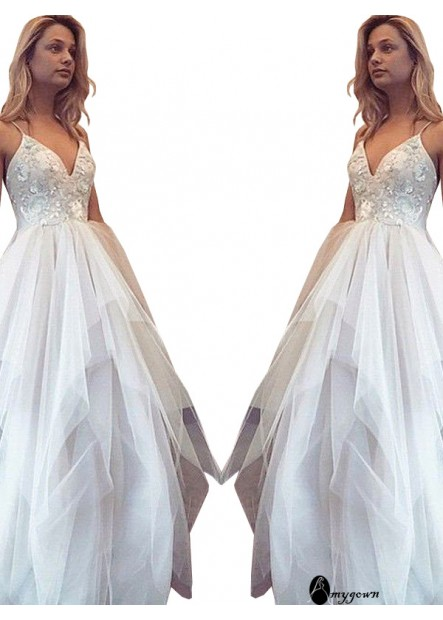 AmyGown White Princess Long Prom Evening Dress T801524704041