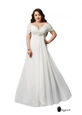 AmyGown White Long Plus Size Prom Evening Dress T801524704103
