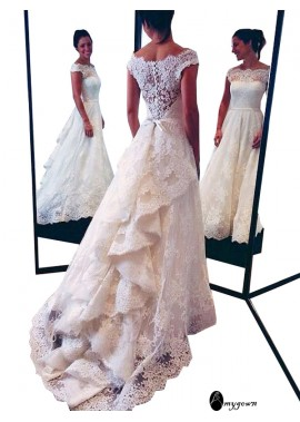 AmyGown 2020 Beach Lace Wedding Dresses T801524714681